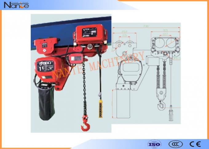 Single Phase IP54 / IP55 10 Ton Electric Chain Hoist Can Use In Rain Sea Chemicals