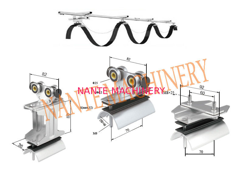 120 m / min Travel speed C Track Festoon System for Crane / Galvanized Steel Festoon Cable Trolley
