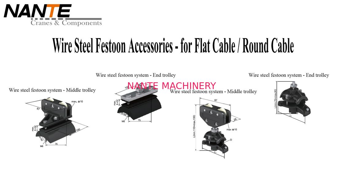 Firm And Flexible Wire Steel Festoon Accessories For Festoon Cable ...