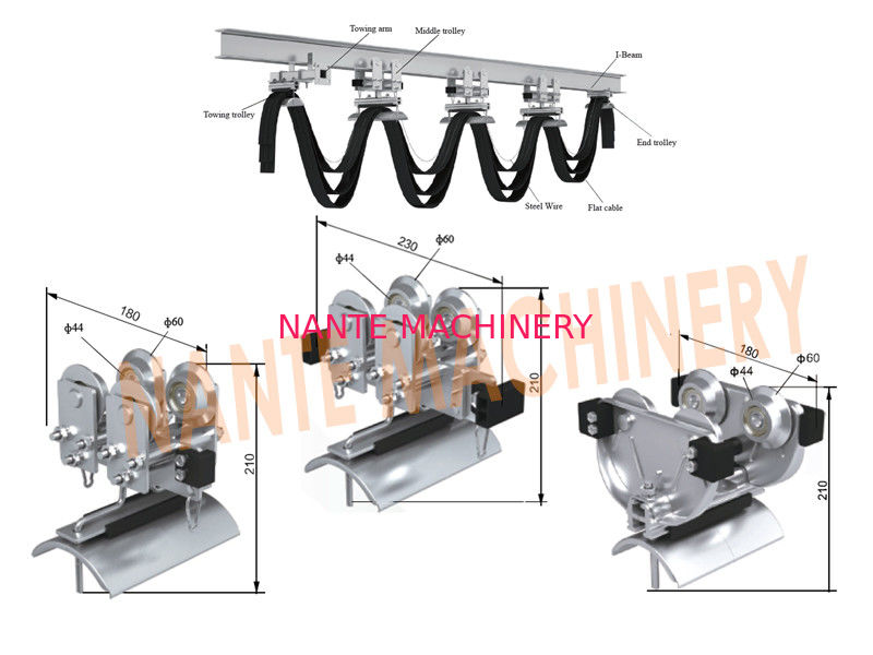 Mechanical  Cable Festoon System With Galvanized Steel / ABS Material