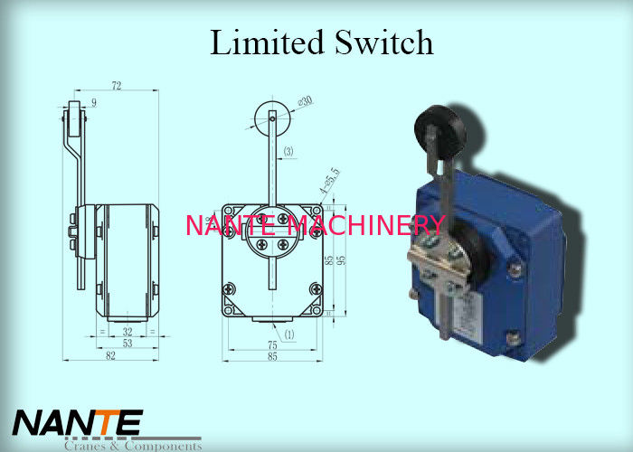 Electric Wire Rope Hoist 6mm Rotary Metal Rod Trigger Head Limited Switch