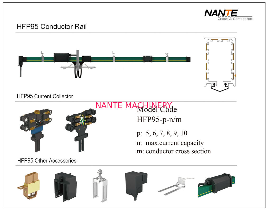 HFP95 5-10 Poles Conductor Rail System Current 50A To 100A Voltage 660V Standard Length 4M