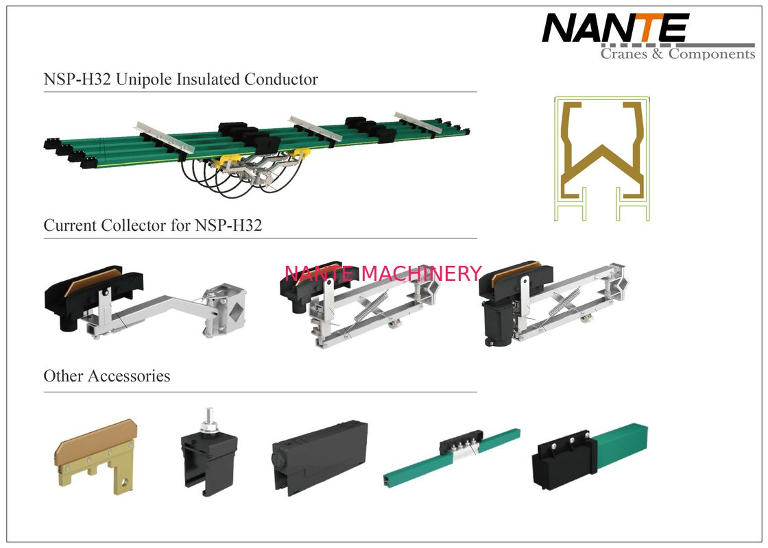 NSP-H32 Conductor Rail System Unipole Insulated Conductor Aluminium & Copper Material Rail