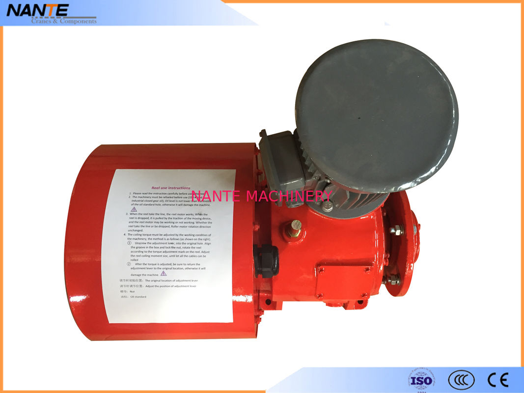 Red Painting Flat Electrical Cable Reeling Drum With Motor , Cable Reel Drum