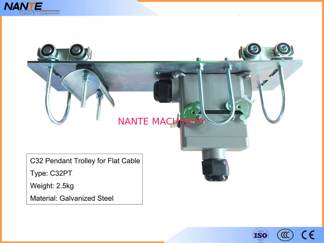 Flat Cable C Track Festoon System C32PT Pendant Trolley With Galvanized Steel