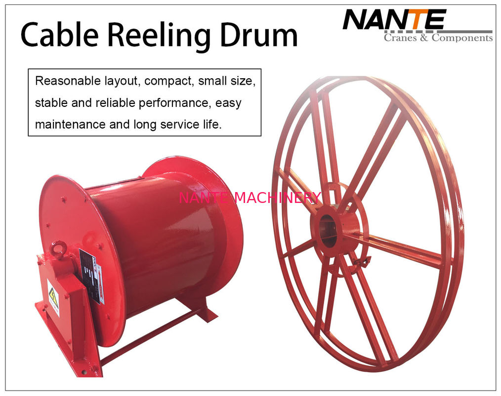 Vertical IP65 380v / 440v Cable Reeling Drum With Red Surface Customized
