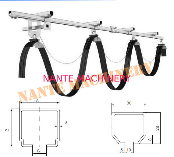 Steel Factory Workshop Festoon Cable System For Overhead Crane Cable Roller