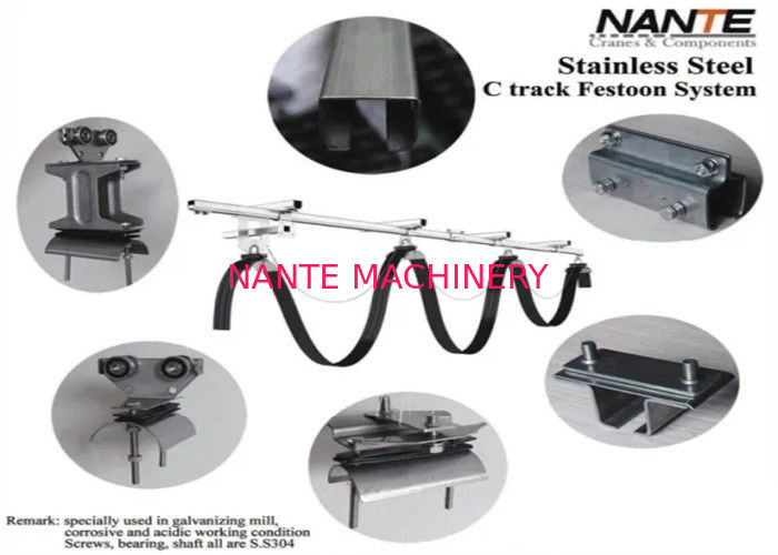 Flat Cable Festoon Track System For Crane And Trolley Power Supply