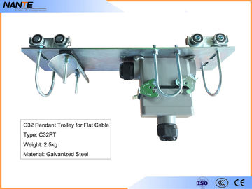 China Flat Cable C Track Festoon System C32PT Pendant Trolley With Galvanized Steel factory